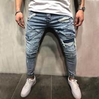 Moda homens jeans homens slim calças casuais elástico calças luz azul ajuste solto algodão denim eans para macho