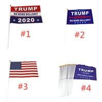 2020 Дональд Трамп американский флаг Keep America Great Баннер Флаги для президента США 14 * 21см Бумага водонепроницаемая размахивая рукой E3307 флаг