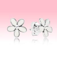 Белый цветок маргаритка лето серьга стержень с оригинальной коробкой логотипа для Pandora 925 Серьги серебро Женщины Девушки подарка