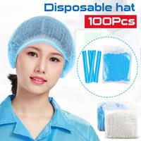 100PCS Disposable Hair Shower Caps Hats PVC Pleated Anti Dust Hat Hotel Salon Supplies Set Blue White Shower Caps FY4024