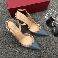 Designer Pointed Toe with Studs high heels genuine Leather r...