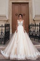 Milla Nova 2020 sexy abiti da sposa gioiello collo Illusion Appliques del merletto in rilievo Una corte linea di Tulle del treno fusciacche formale Plus Size abito da sposa