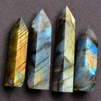 Labradorite Moonstone cristal de quartzo Pedra Rhinestone Ponto Cura Hexagonal Wand Tamanho aleatoriamente enviar