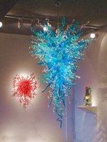Big Blue Pasillo Lámparas de pie soplado a mano lámpara de cristal iluminaciones del LED bombillas de tuberías de vidrio lámparas pendientes