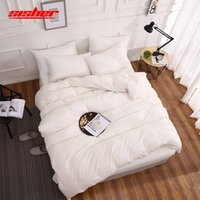 Sisher Copripiumino solido di colore morbido Lenzuola Quilt Cover queen size per la casa Hotel White Grey letto di foglio singolo doppio