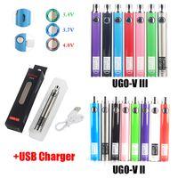 100% Original UGO V2 V3 I II Battery 650 900 mAh Pré-aqueça o VV Bateria Micro USB Charger Fit 510 Tópico Ego Grosso Oil Cartridge Vape