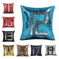 14 الوان فارغة Sequin حورية البحر كيس وسادة Satin Pillowslip مزدوج اللون ل أريكة المنزل Sequins وسادة غطاء وسادة زخرفي 30pcs T1I1823