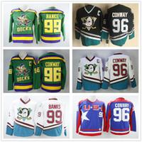 4db026b52 2019 The Mighty Ducks Film Movie Green Vintage Jerseys 96 Charlie ...