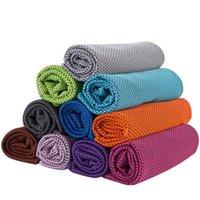 Double couche de glace froide Sport serviette de refroidissement d'été Anti Sunstroke Sport Exercice Quick Cool doux et sec respirant refroidissement serviette 10 couleurs R3179