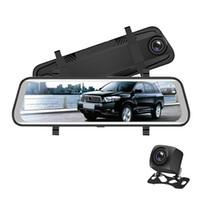 """10 """"터치 스크린 스트리밍 비디오 자동차 DVR 차량 등록자 미러 Rearview Car Dash Camera FHD 1080P 2CH 전면 170 ° 리어 145 °"""