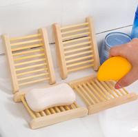 Las bandejas de bambú natural al por mayor de jabón plato de madera de madera bandeja del jabón del sostenedor del estante de la placa envase de la caja de la ducha del baño Baño GB1635