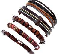 Människans kohudskinnsarmband DIY Handvävt Beading Multilayer Braid Stickning Kombination Sats Barmbandstorlek kan justeras 5styles / 1SE