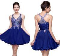 Royal Blue Shinny Kristalle Kurzes Heimkehr Kleid A-line Appliqued Backless Cocktail Party Kleid Mini Prom Prom Kleid Abendclub Wear CPS168