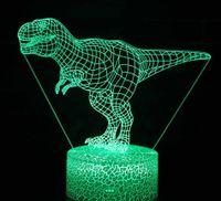 Dinosaurio 3D luces nocturnas LED ilusión óptica Lámpara de escritorio para amantes de la decoración del partido del tema jurásico al por mayor