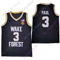2020 Nouvelle NCAA Wake Forest Demon Deacons Jersey 3 Chris Paul College Basketball Jersey Taille Noir Jeunes Adultes