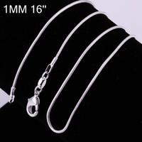 100pcs / lot 925 Silver Slight Snake Collier Collier Chaîne Bijoux Constatations 16 18 20 22 24Inch Accessoires de mode DIY