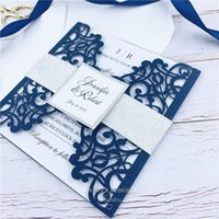 Fabulous Navy Blue Laser Cut Wedding Invitations With Glitte...