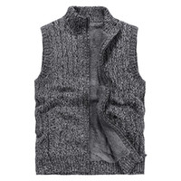 Erkek ceketler Örme Yelek Standı Yaka Artı Celvet Kalınlaşmak Katı Renk Triko Cardiga Retro Sıcak Moda Kabanlar Ceketler M-3XL tutun