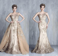 Tony Chaaya Champagne Evening Dresses With Detachable Train ...