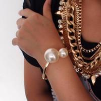 Moda para mujer accesorios de diseño simple imitación perlas pulseras joyería declaración brazaletes