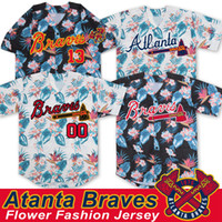 Atlanta Flor Moda Braves Jerséis Ronald Acuna Jr. Austin Riley Ozzie Albies Freddie Freeman Dansby Swanson Chipper Jones