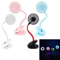 La aromaterapia clip flexible Ventilador USB recargable ventilador del escritorio con colorida luz de la noche de verano fresco mini ventilador