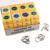 32 개 클래식 지능형 몬테소리 금속 와이어 퍼즐 배플 링 뇌 티저 마법의 반지 게임 장난감 성인 어린이 어린이 선물 SH190911