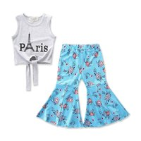 Girls Boutique Summer Outfit Kids Baby Gray Paris print vest...