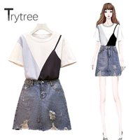 Trytree 2020 donne due estate pezzi Set O-collo casuale impiombato T-Shirt Top + Skirt Cowboy Mini Tassel Fashion Set 2 pezzi