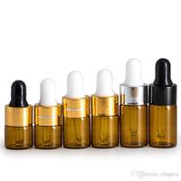Amber Temizle Damlalık 1 ml 2 ml 3 ml Mini Cam Şişe Esansiyel Yağı Ekran Flakon Küçük Serum Parfüm Kahverengi Örnek konteyner