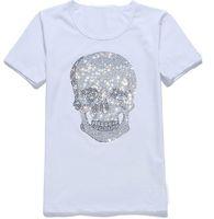 Womens Streetwear Yaz Tshirts Mastermind Parlayan Elmas Yapay elmas Tshirts Kafatasları Desen Mürettebat Yaka Kısa Kollu Tişörtler