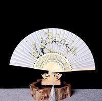 Señoras de estilo chino abanicos plegables de bambú estilo japonés y ventilador de regalo de viento abanico abanico cabeza de pájaro azul y blanco abanico de belleza