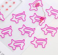 lindo clips de papel de color rosa dibujos animados cerdos flamencos metal en forma de clips de papel planificador de marcadores que presentan los suministros de material de oficina SN769 escuela