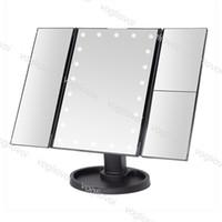 أضواء الغرور LED ماكياج مرآة 22 شاشة تعمل باللمس ضوء 1x / 2x / 3x عدسة مكبرة 3 للطي المدمجة مرنة مستحضرات التجميل مرايا DHL