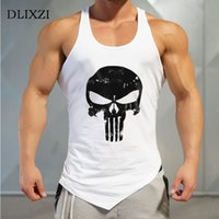 Imprimé Punisher Fitness Hommes Débardeurs Coton Muscle Shirt Bodybuilding Singlet Street Workout Vêtements Gymnases Porter Gilet Mâle