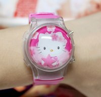 Torte calde KT ciao Kitty cartoon silicone flash light-emitting elettronica baby clamshell watch watch ragazze e bambini