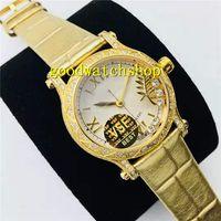 VS 18K Gold Happy Sport женщин Часы Алмазный женские часы Swiss 9015 Automatic 28800 VPH Сапфир кристалл алмаза ободок кожаный ремешок