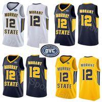 NCAA Murray State Racers 12 JA Morant Jersey Temetrius Jamel Koleji Basketbol Giyer Üniversite Gömlek Sarı Mavi Beyaz OVC Ohio Vadisi
