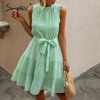 Casual Dresses Simplee Summer Sleeveless Sexy Kleid Feste Gerüste Hohe Taille Rüschen Baumwolle Chic Plus Größe 2021