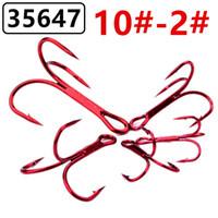 100pcs 10/8/6/4/2 # Red Nickel Triplo Anchor gancho aço carbono de alta farpado Fishing Hooks anzóis Pesqueiro A-019