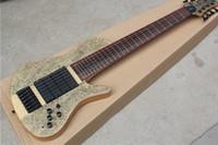 Envío gratis 7 cuerdas Guitarra eléctrica, cuerpo de chapa de arce Birdseye, 4 pastillas, interruptor MINI, cuello de arce, 24 trastes,