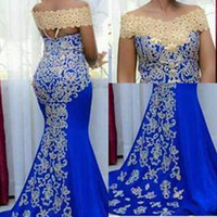 Cheap African Off Shoulder Evening Dresses Wear Saudi Arabia...