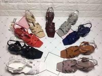 2019 высокое качество 9 цветов весной новые босоножки на высоком каблуке Европа и США мода крест грубый с женскими босоножками тенденция Origi