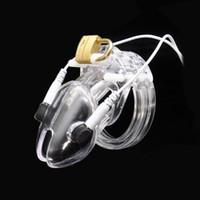 Plus petit Cock Cage Mâle Electro Chastity Dispositif (ECB) Choc Transparent Serrure De Ceinture En Plastique Manchon Sex Toys A192