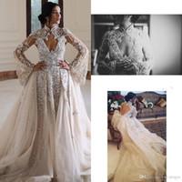 Cristalli di lusso 2020 abiti da sposa scollo a V in rilievo A-line di Tulle maniche lunghe abiti da sposa sexy abiti da sposa