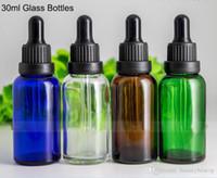 1OZ Bouteilles en verre gros 30ml Ambre bleu clair vert verre vide Dropper bouteilles avec des capsules Tamper noir pour E-liquide E cig bouteille d'huile