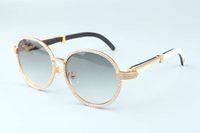 19 ans nouveau luxe ronde cadre diamant lunettes de soleil T19900692 rétro de mode d'or chapeau naturel mixte cornes Miroir jambes décoration