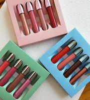 Liquido liquido opaco di alta qualità Rossetto 4pcs Set Lip Gloss Kit Green Blue Pink 4 Set di colori