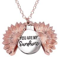 Personlig Du är mitt solsken Bästa Vänner Bästa tikar Valentine Halsband Antik Guld Solros Locket Pendant Halsband 2020 Hot Sale