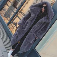 2019 겨울 가짜 모피 롱 코트 여성 두꺼운 따뜻한 솜 대형 후드 코트 외투 여성 느슨한 봉제 모피 재킷 아우터 T191109